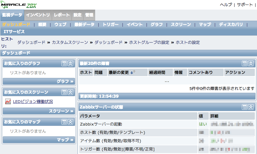 Zabbix管理画面